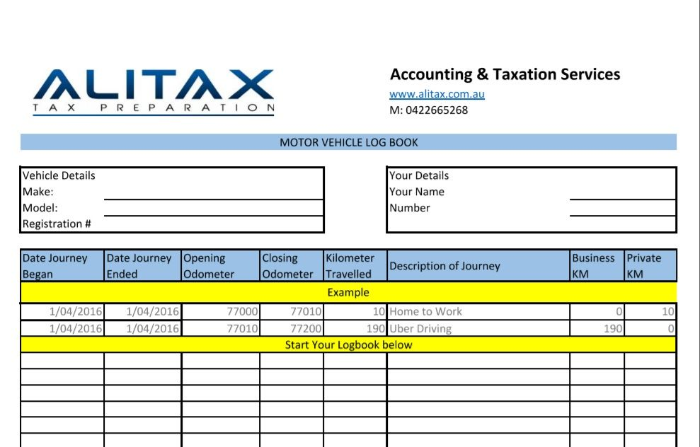 Logbook For Uber Drivers Alitax Tax Preparation